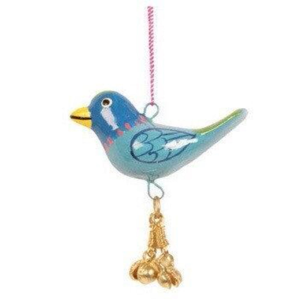 Fair Trade Papier Mache Hanging Bird - Blue