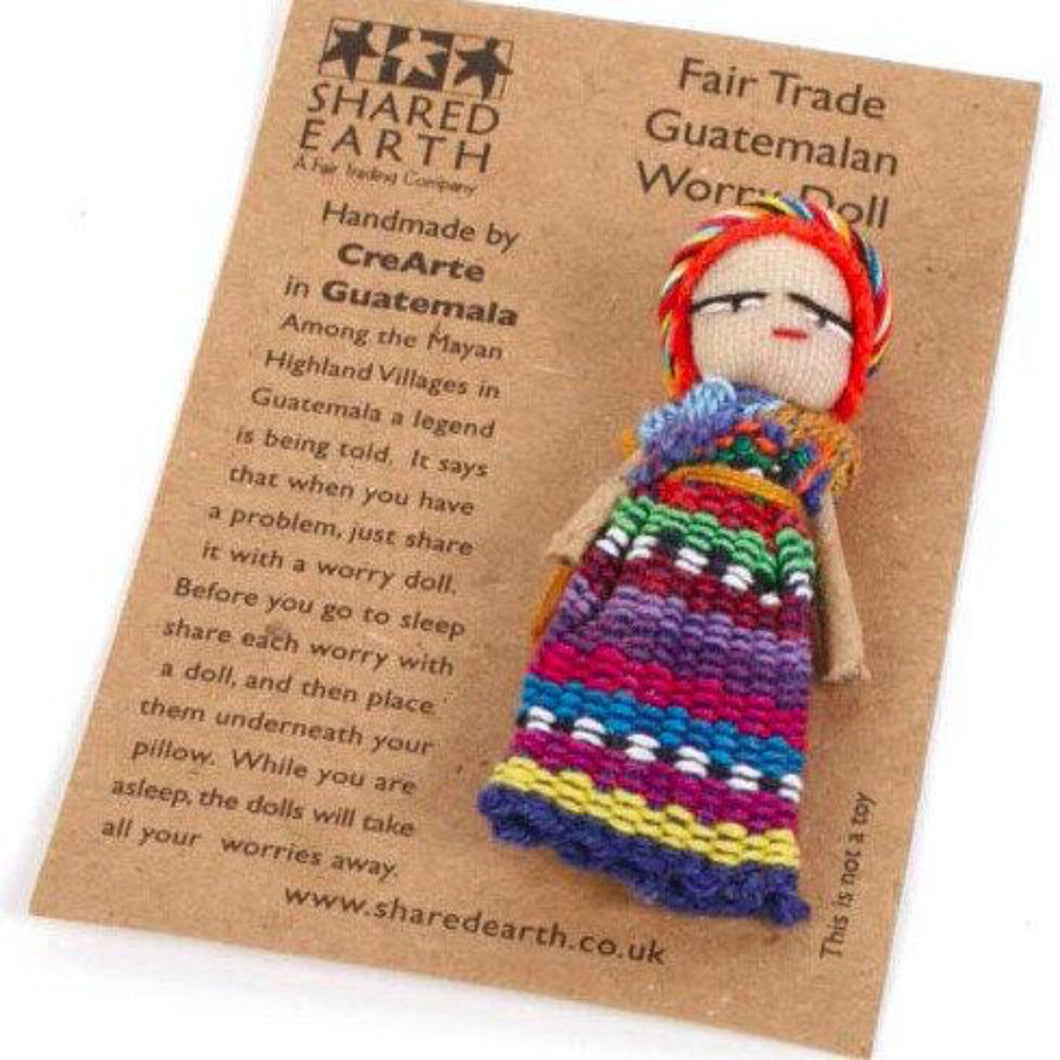 Fair Trade Guatemalan Worry Doll on Card. Handmade in Guatemala. Gifts