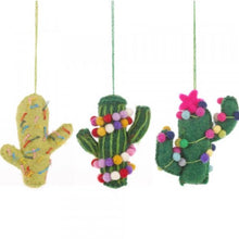 Load image into Gallery viewer, Set of 3 Fair Trade & Eco Friendly Totem Pole Cactus Novelty Hanging Decoration -Needle Felted- Christmas