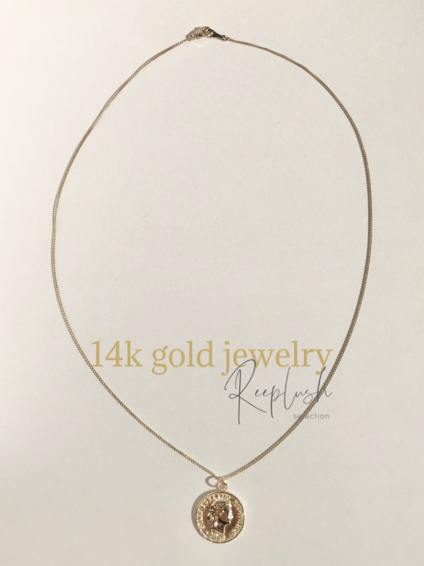 14K gold  - Coin Necklace -