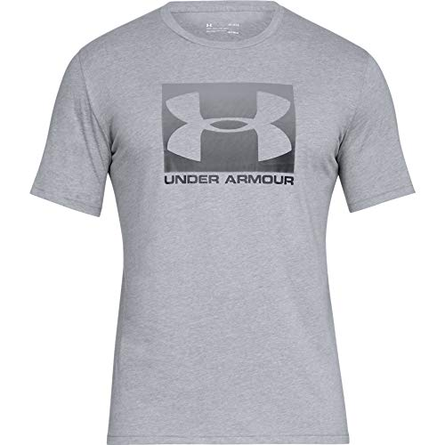 Breathable Gym and Fitness Clothing Medium Under Armour Mens UA BOXED SPORTSTYLE Short Sleeve Stylish and Comfortable T Shirt Grey