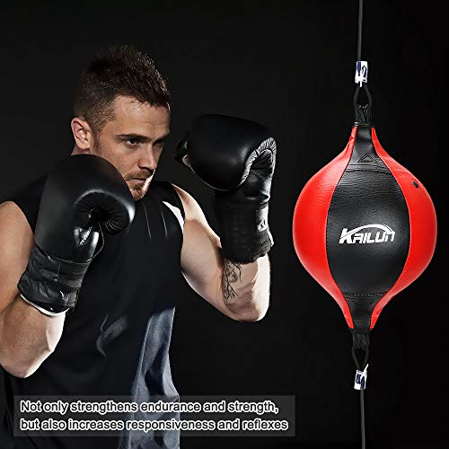 Punching Bag Hanging Boxing Ball,Speed Punch Bag Leather Speed Ball,Double End Ball with Boxing Reflex Ball and Pump for Gym MMA Boxing Sports Punch Bag Adult Kids Men Women