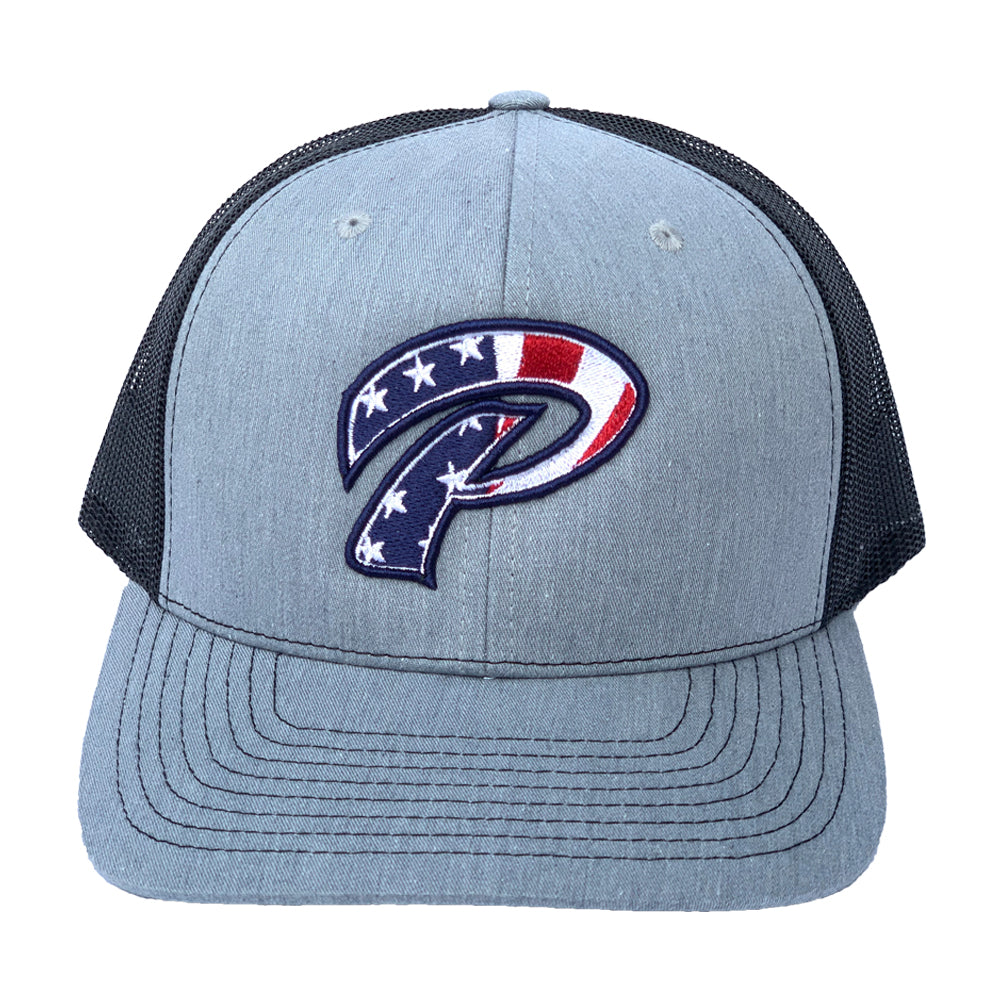 Phelps P Flag Hat Grey Black Snapback