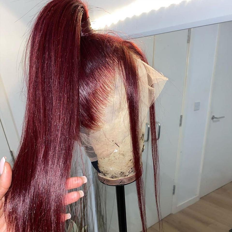 College Students Affordable Vibrant Burgundy Lustrous Straight Lace Frontal Wig