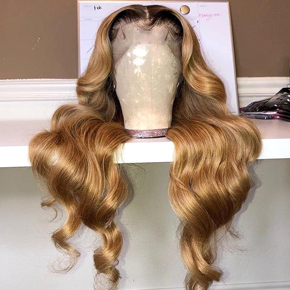 Honey Brown Ombre Colored Body Wave Lace Frontal Wigs
