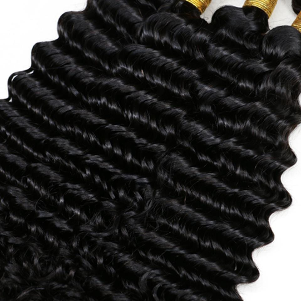 NEW IN STOCK! 3 Natural Black Deep Wave Bundles Package