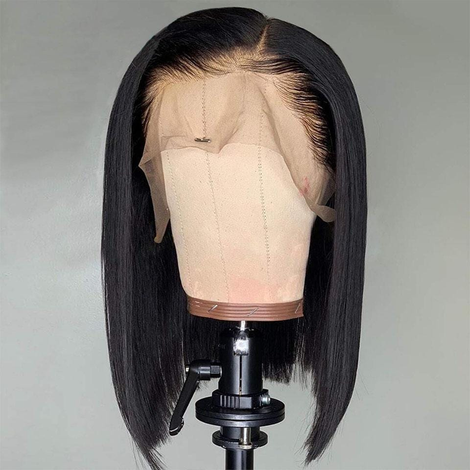 Shiny Natural Black Straight Bob Lace Frontal Wig