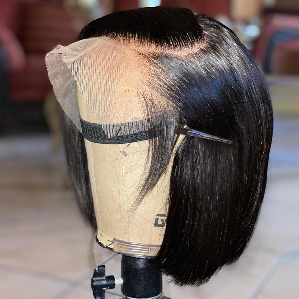 Graceful Natural Black Straight Bob Lace Frontal Wig