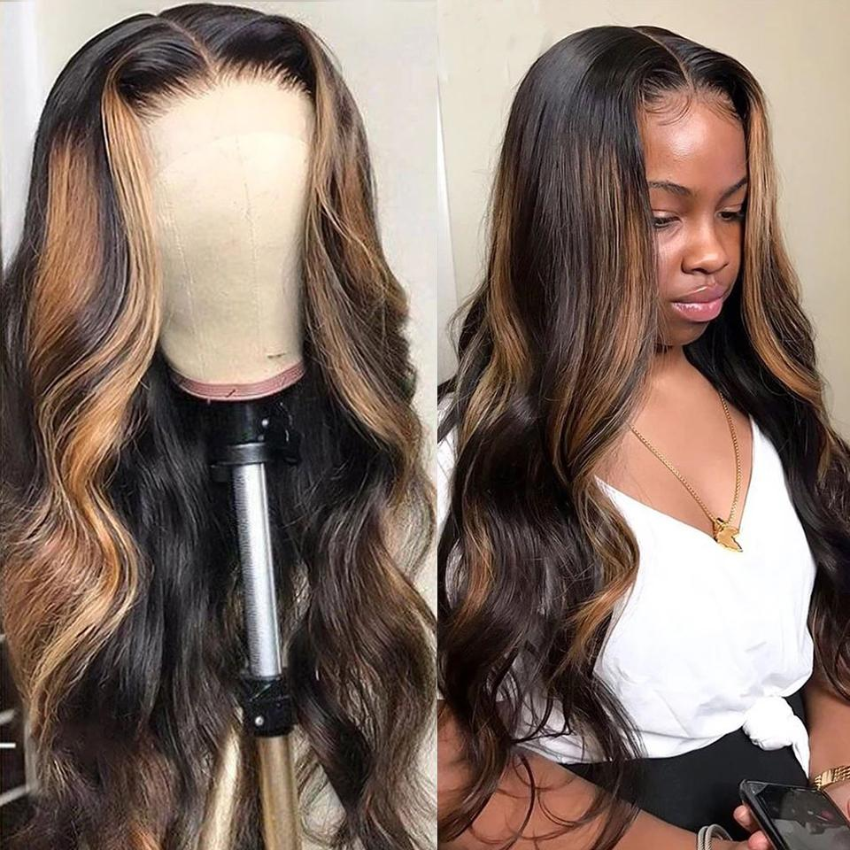 Goddess-like Honey Highlights Brown Body Wave Lace Frontal Wig