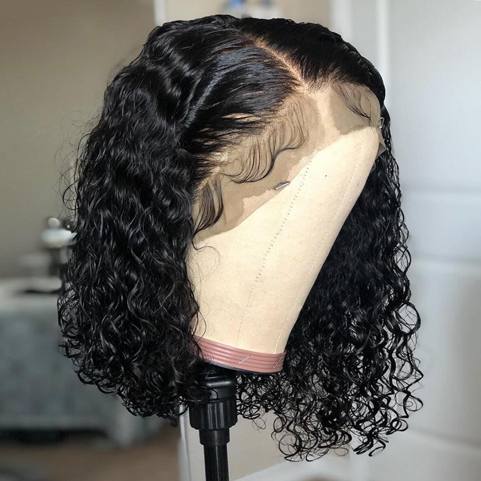 Middles Part with Baby Hair Wet And Wavy Curly Bob Lace Frontal Wig