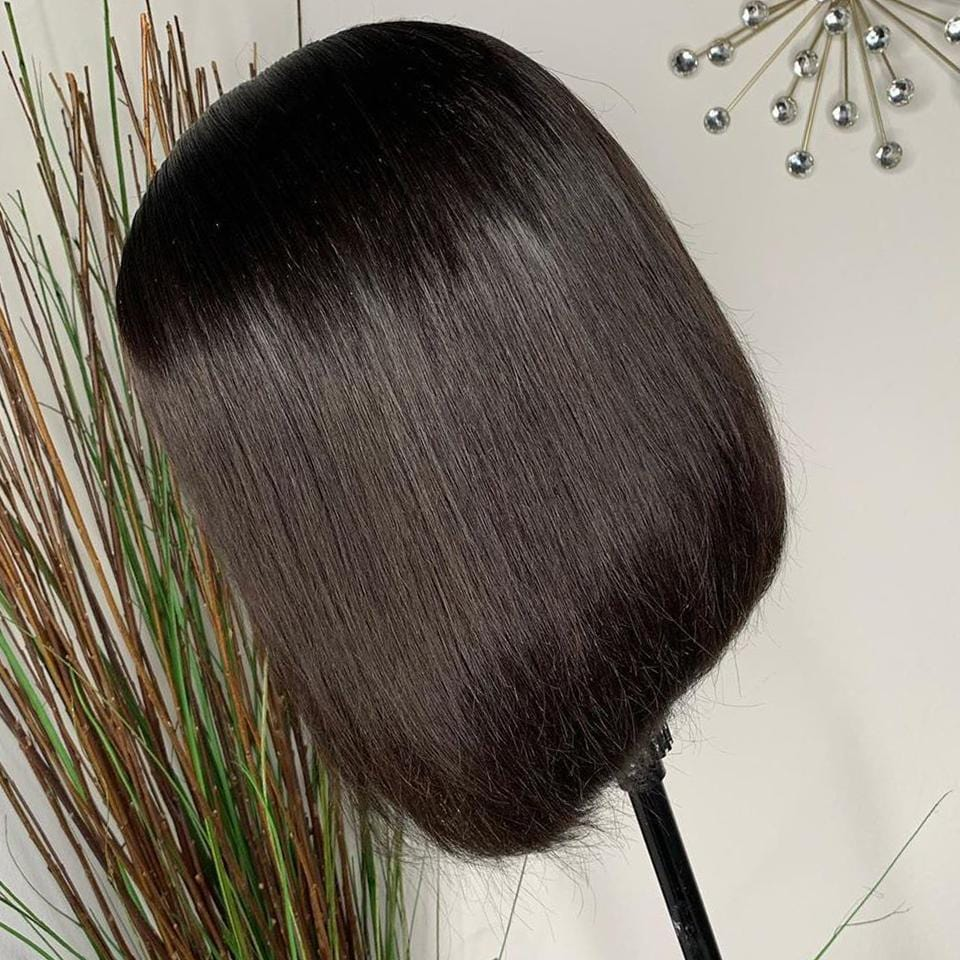 Natural Black Bone-Straight Bob Lace Frontal Wig