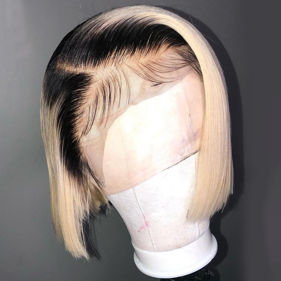 Black Roots Blonde Ombre Bone-Straight Bob Lace Straight Wig