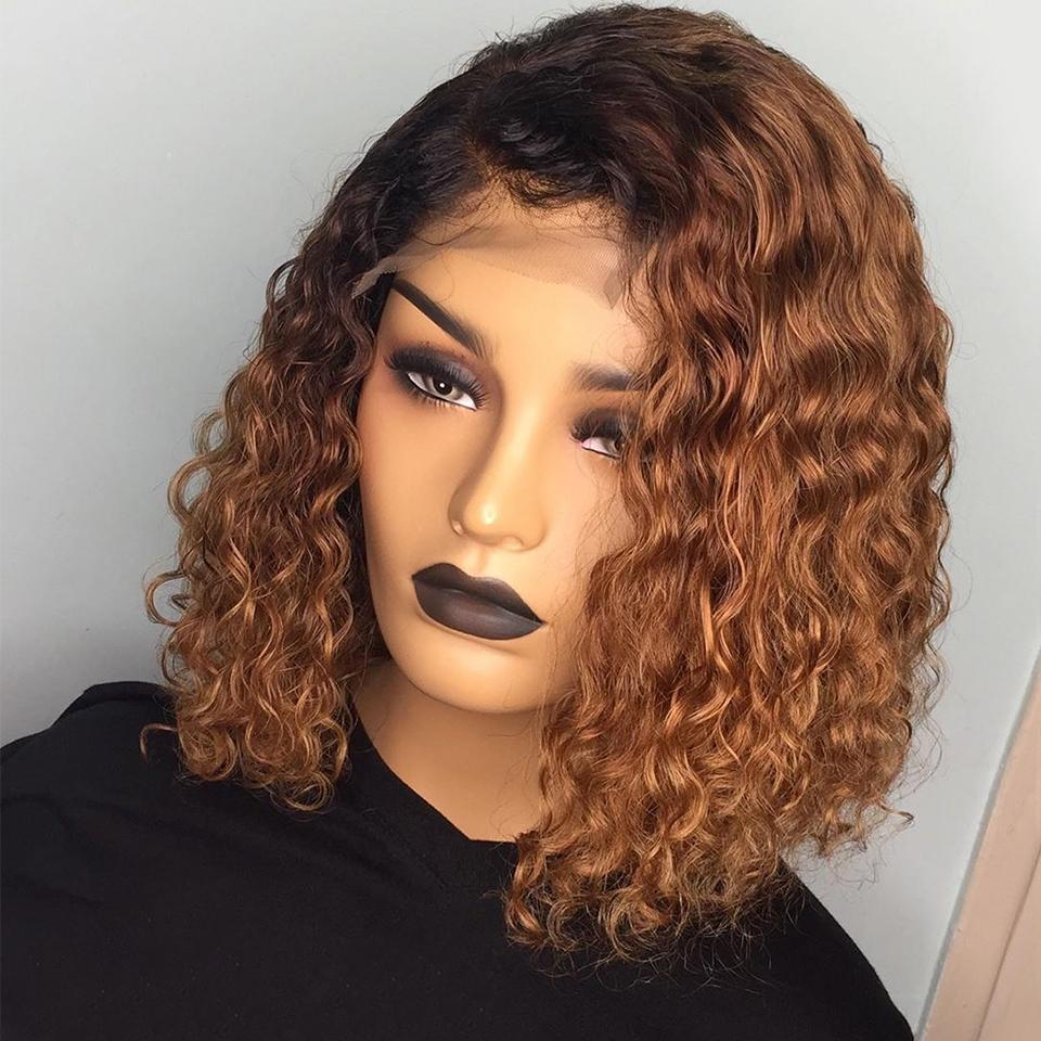 Wet Look Recommend! Black Roots Honey Brown Ombre Wet Wave Bob Lace Frontal Wig