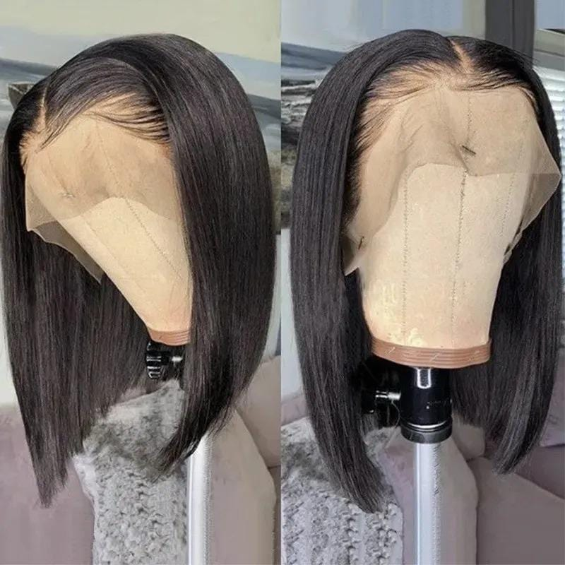 Natural Black Bone-Straight Blunt Cut Bob Lace Frontal Wig