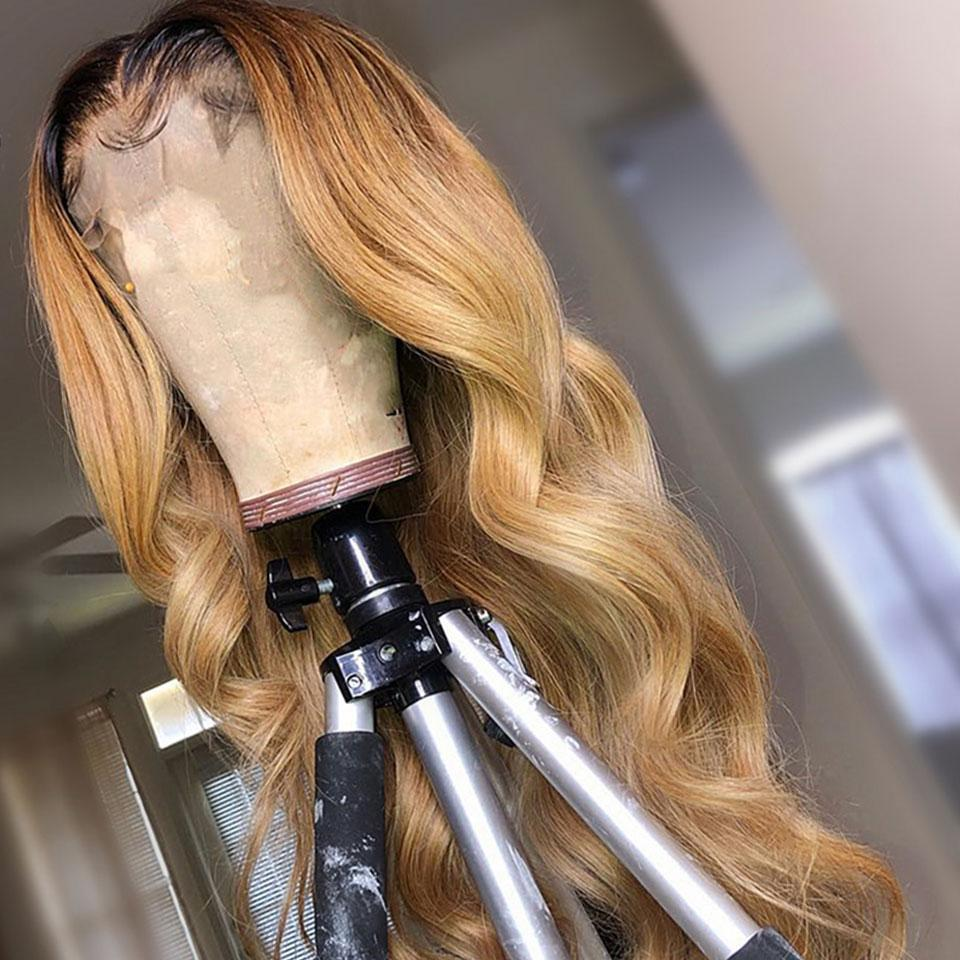 Ombre Light Brown Body Wave Lace Frontal Wig