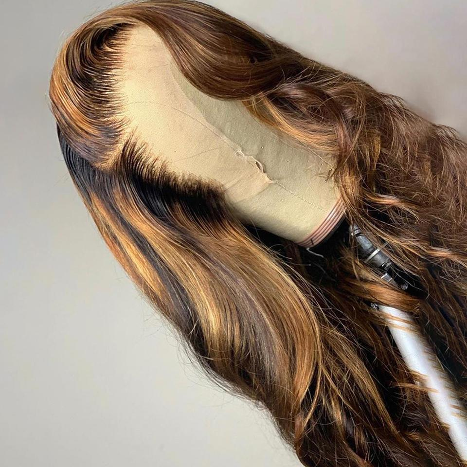 Piano Ombre Honey Brown Body Wave Lace Frontal Wig