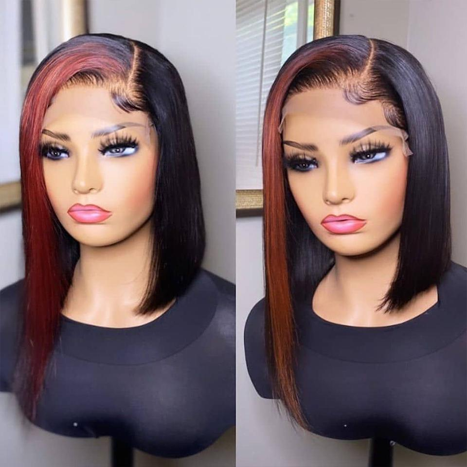 HOT TikTok-inspired Cherry Red Ombre Straight Bob Lace Frontal Wig