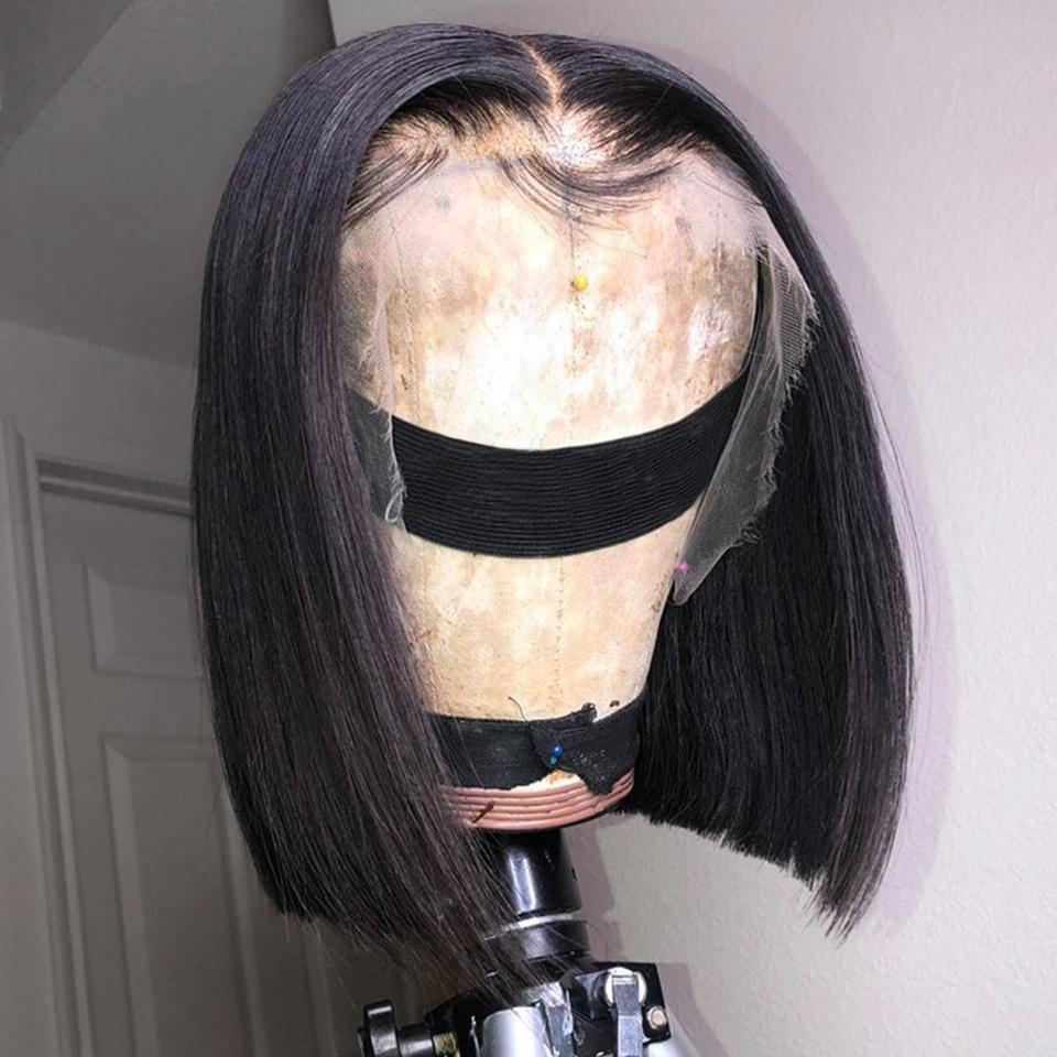 Customized Parts Friendly! Lustrous Natrual Black Straight Bob Lace Frontal Wig