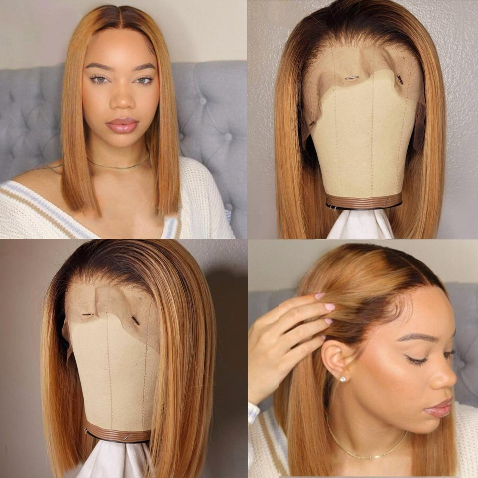 Black Roots Ombre Honey Brown Graceful Silky Straight Bob Lace Frontal Wig