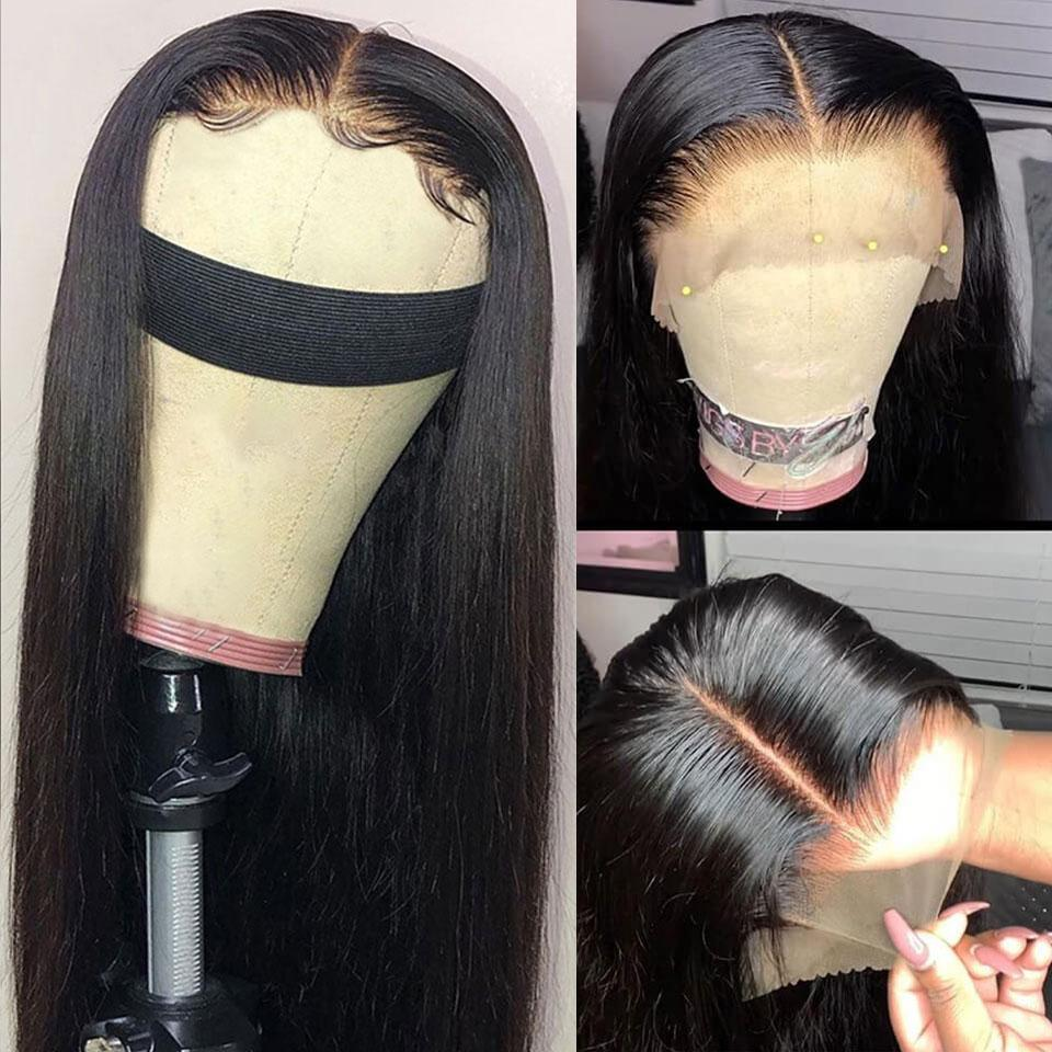 Glueless Available! Natural Black Straight Lace Frontal Wig