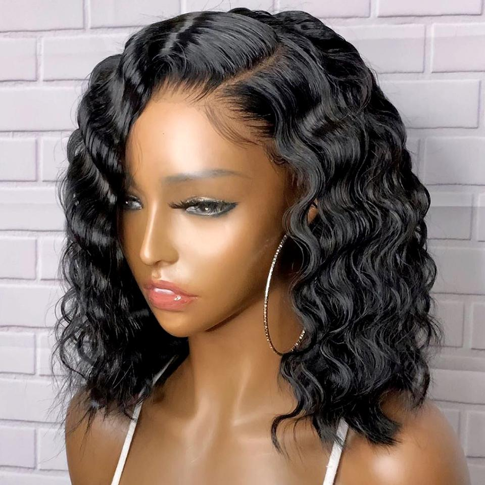 College Girl Must Have! Natrual Color Sleek Deep Wave Bob Lace Frontal Wig