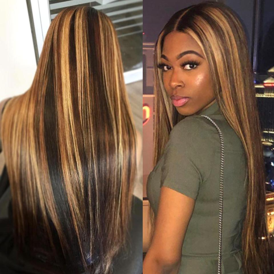 Beyonce Style Honey Piano Highlights Straight Lace Frontal Wig