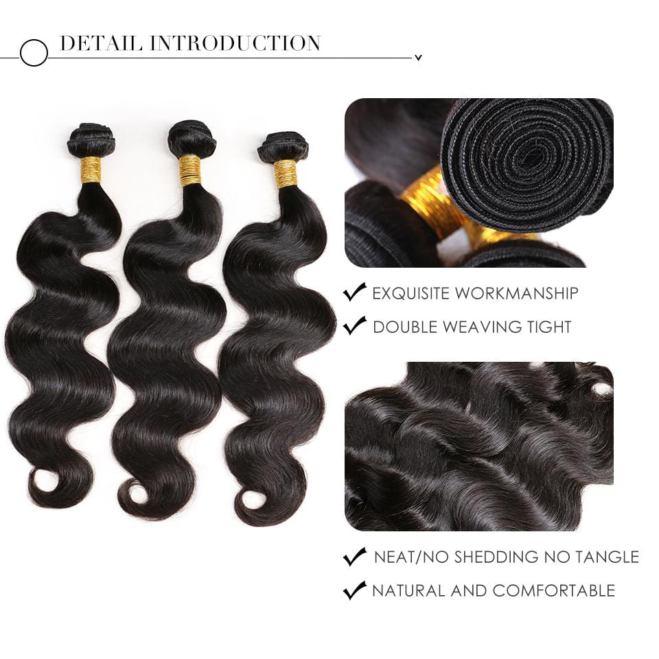 NEW IN STOCK! 3 Natural Black Body Wave Bundles Package