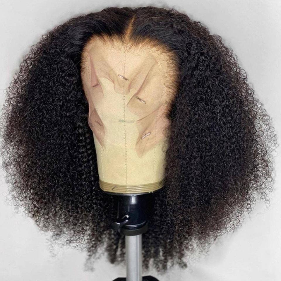 Natural Black Kinky Wave Lace Frontal Wig