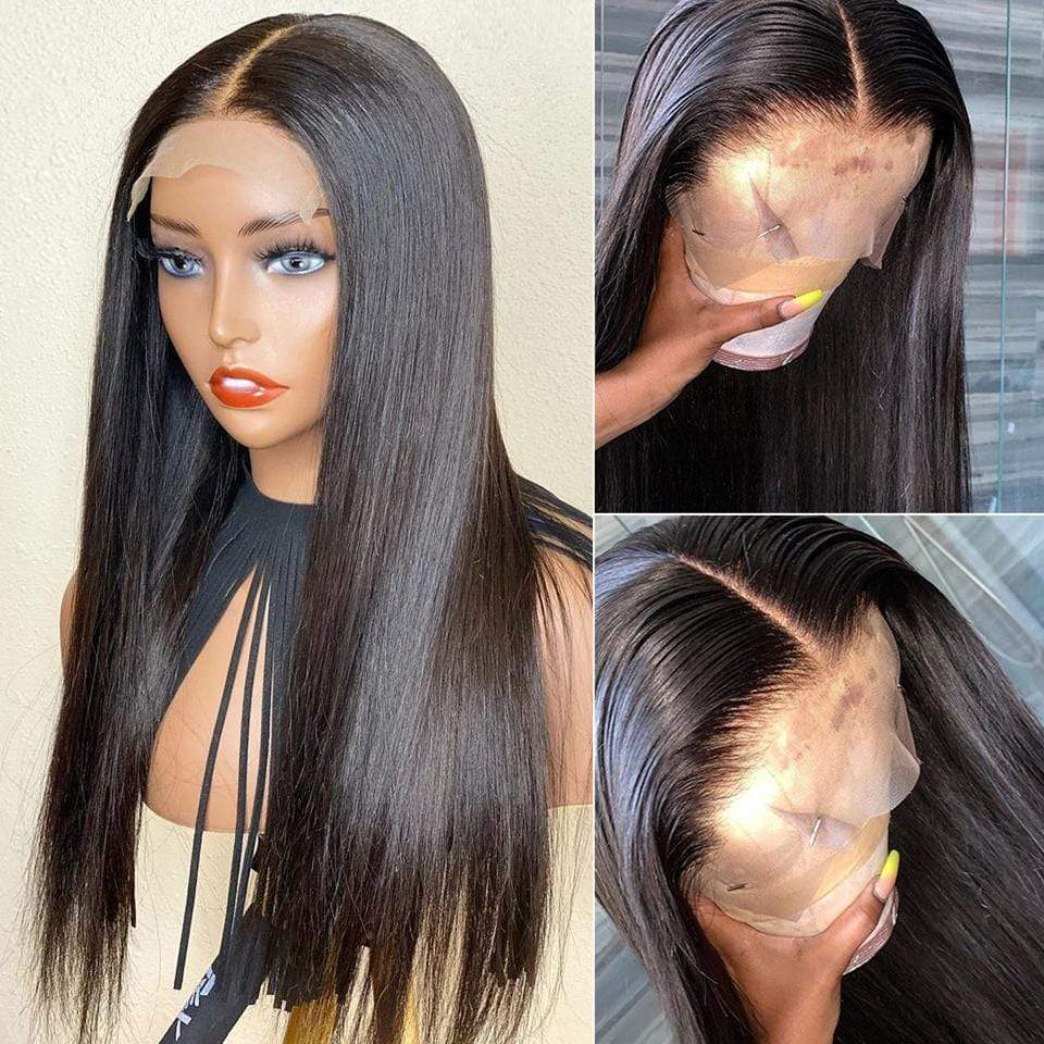Cardi B Style Natural Black Breathable Silky Straight Frontal Lace Wig