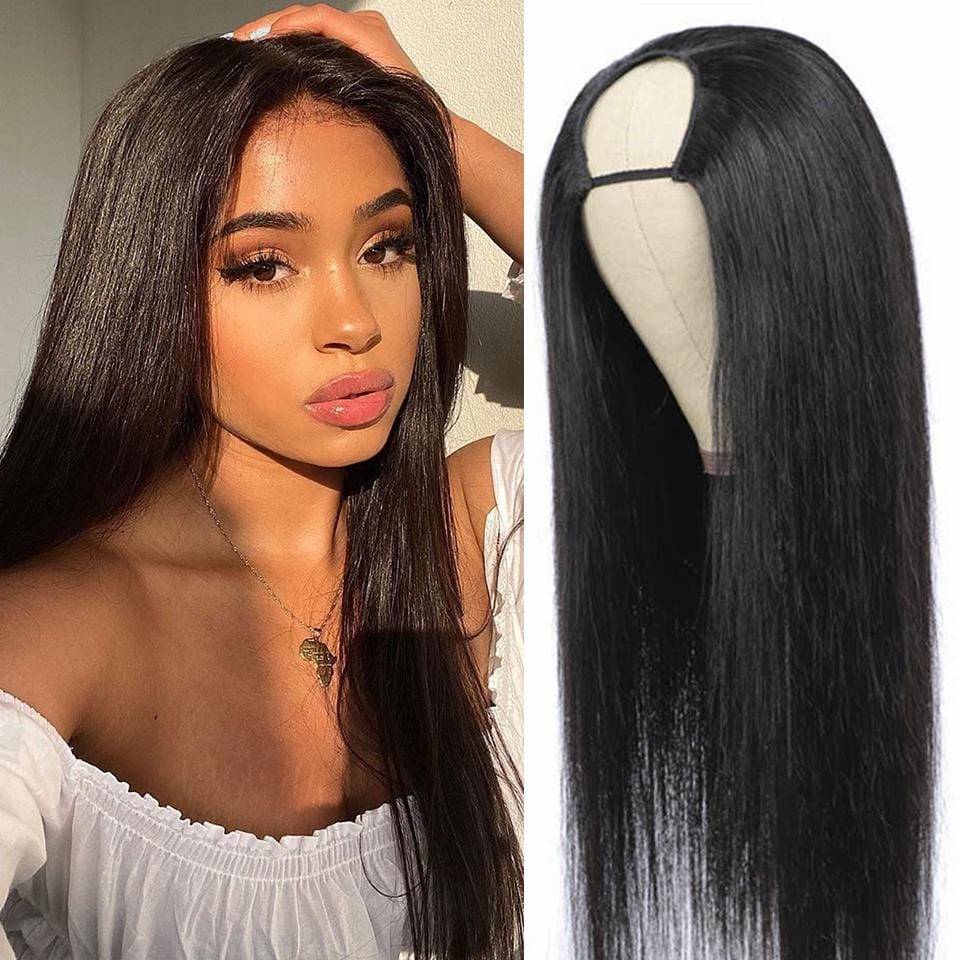 ONLY 22 INCHES HOT SALES |  Glueless Available Natural Black Straight U Part