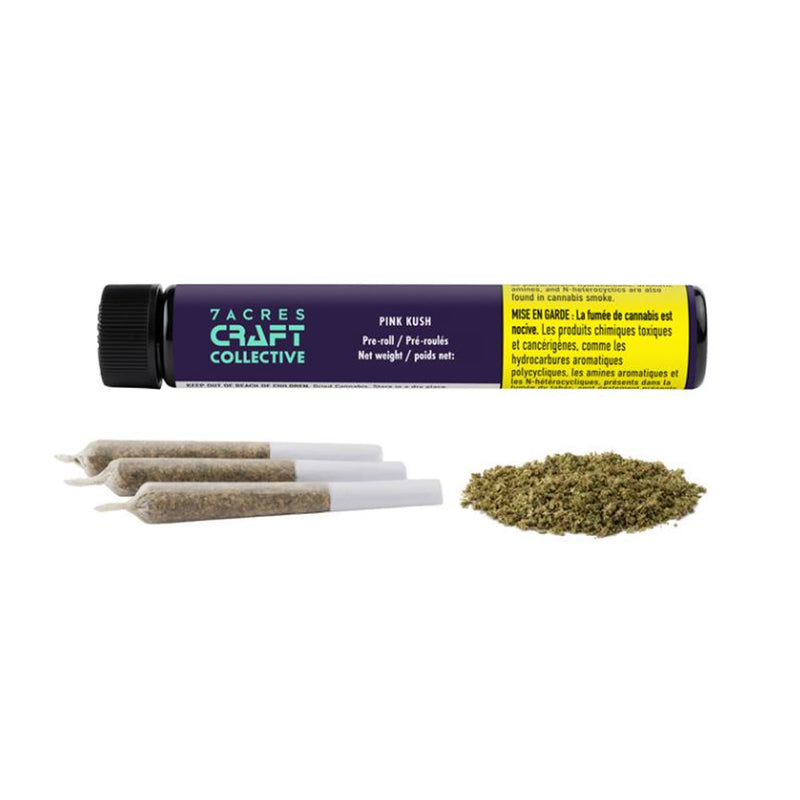 7ACRES CRAFT COLLECTIVE: PINK KUSH (IND) PRE-ROLL - 0.5G X 3