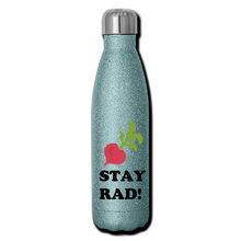 "Load image into Gallery viewer, ""Stay Rad"" Reusable Bottle - turquoise glitter"