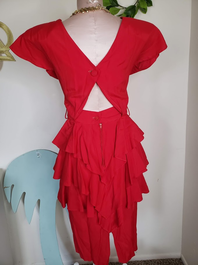 Show Stopper Red Ruffle Dress <Fits S to M>
