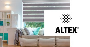 altex logo and image of living room with window covered partially with blinds in the background