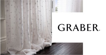 graber logo and image of white fabric blinds