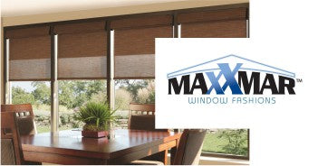 Maxxmar Window Fashions logo and image of room with brown table in front of window with blinds