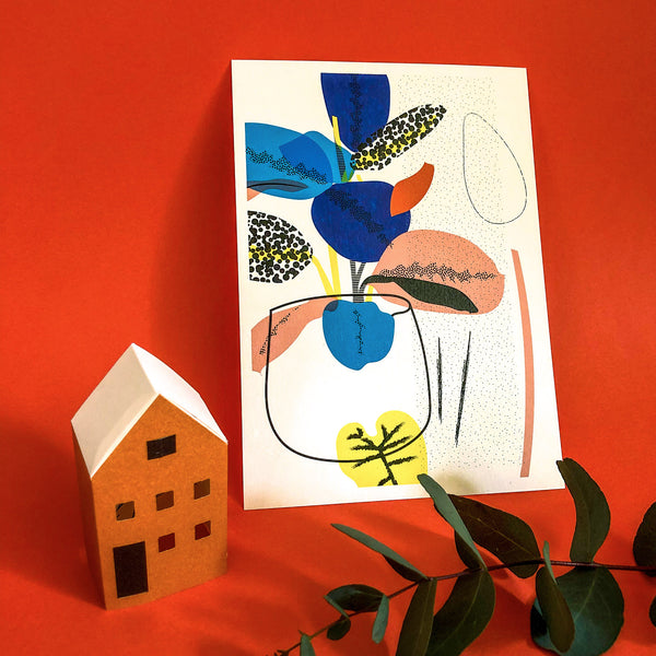 Houseplant Art Print by The Print Lass. Shown with no frame on red background