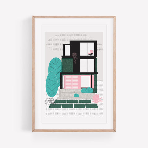 Green Suburbs Art Print by The Print Lass. Shown in wooden frame with mount (not included)