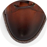 Antiqued calf leather upper