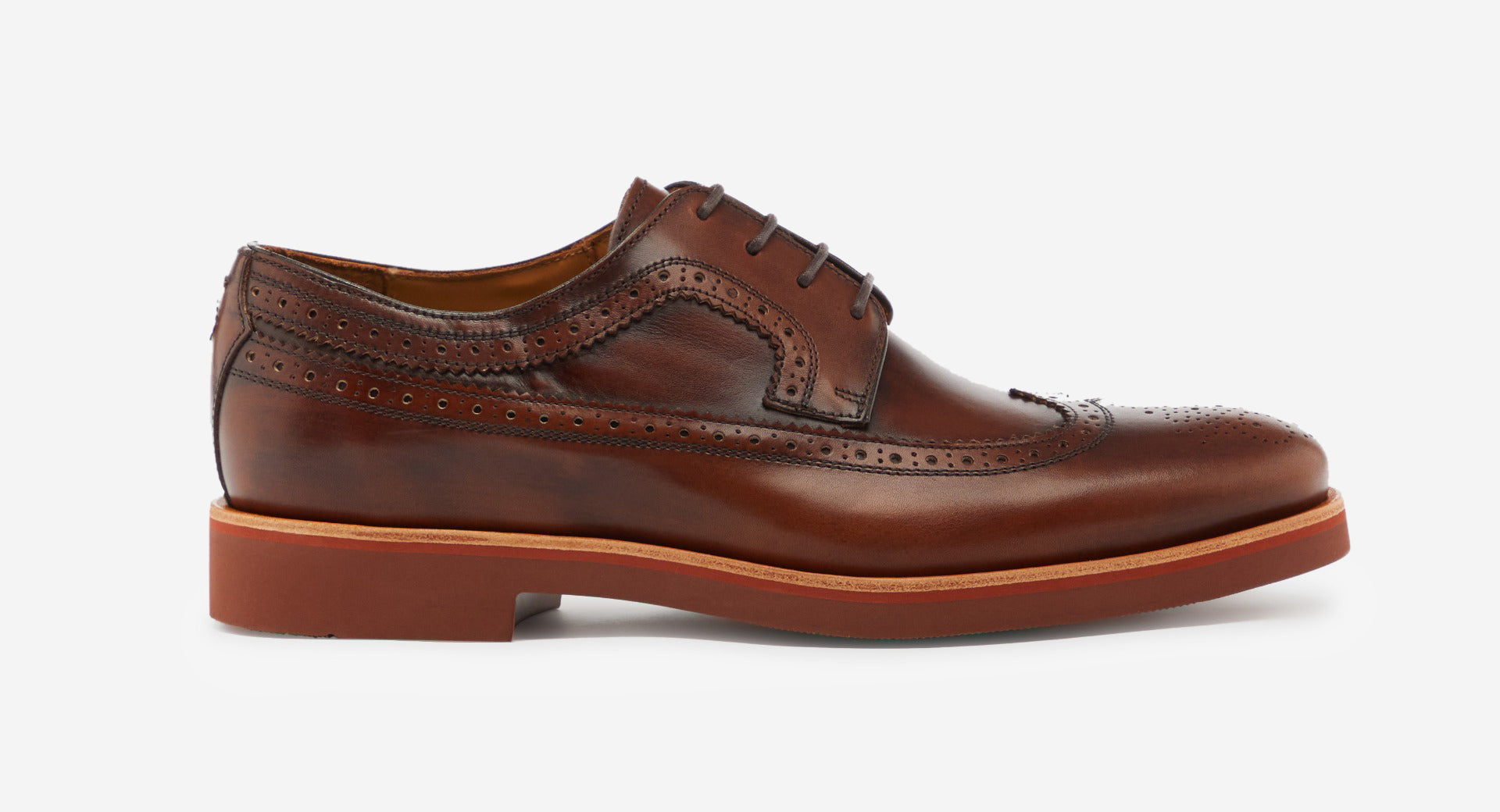 Antiqued Leather Derby Brogue
