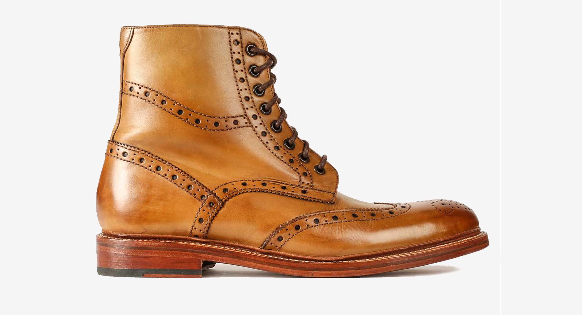 Calf Leather Brogue Boot