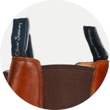 Branded heel and shin pull tabs