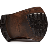 Leather sole with rubber inlay