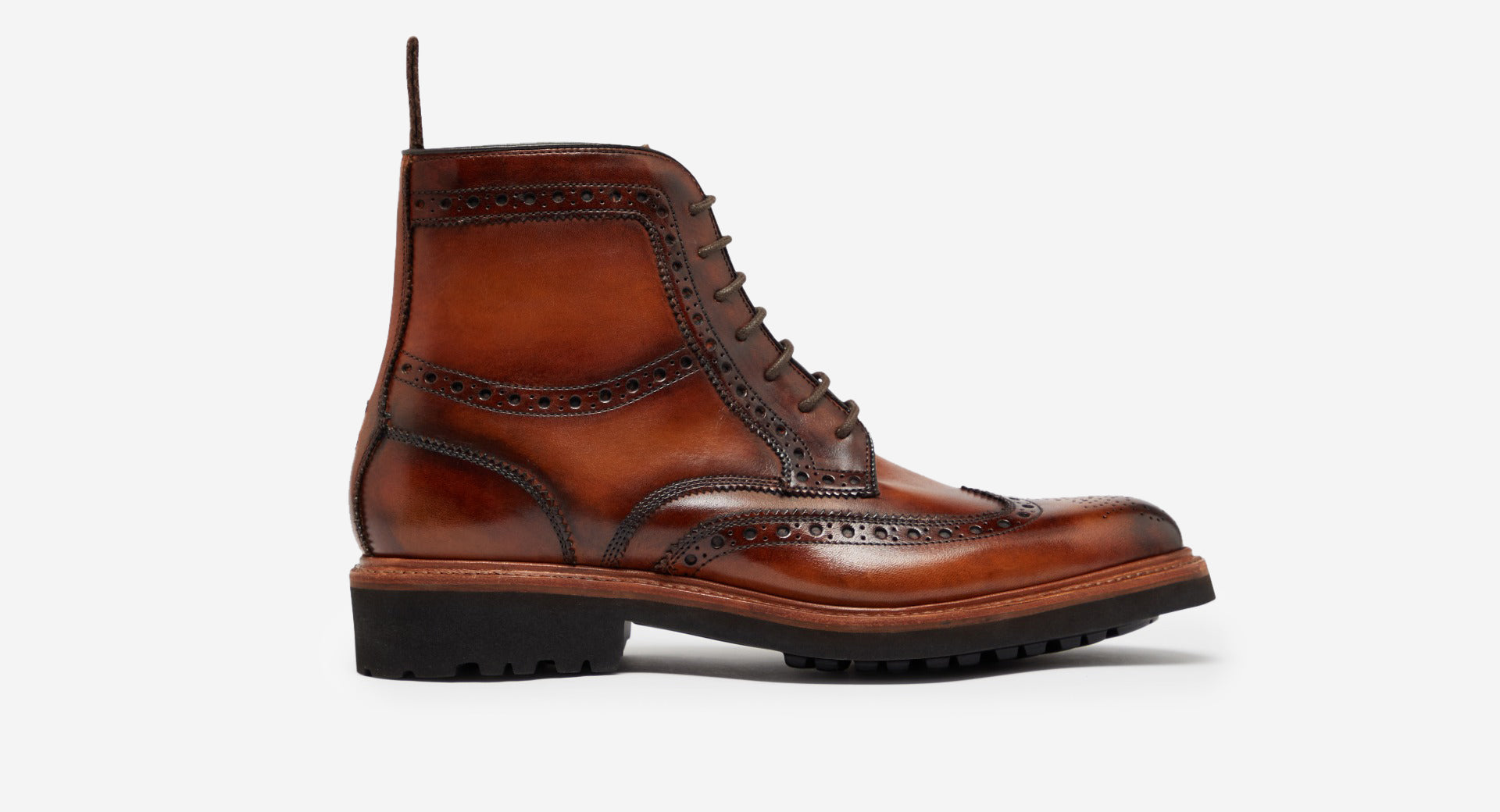 Hand Finished Leather Brogue Boot