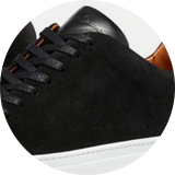 Calf suede and calf leather