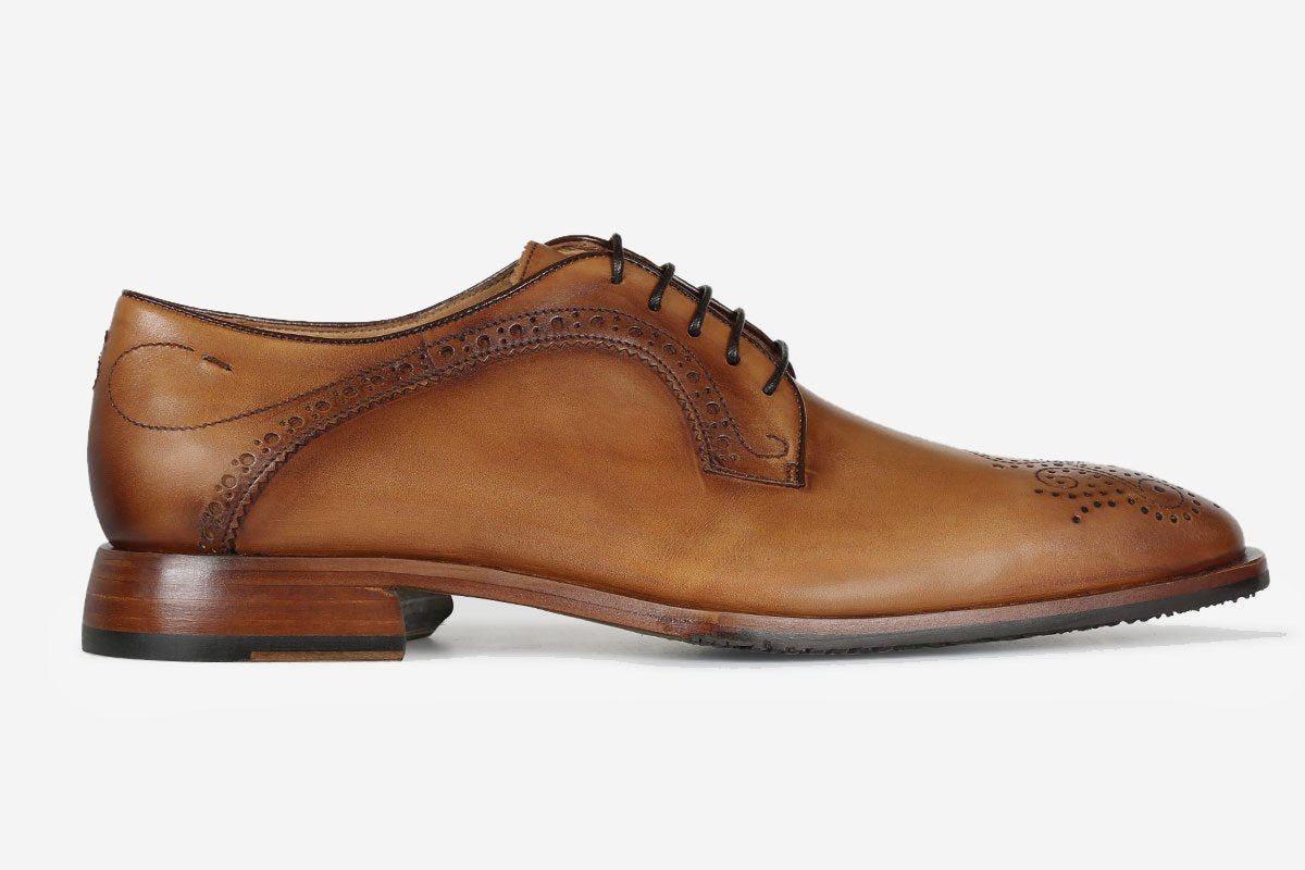 Hand Antiqued Leather Derby Shoe