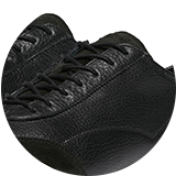 Grained calf leather upper