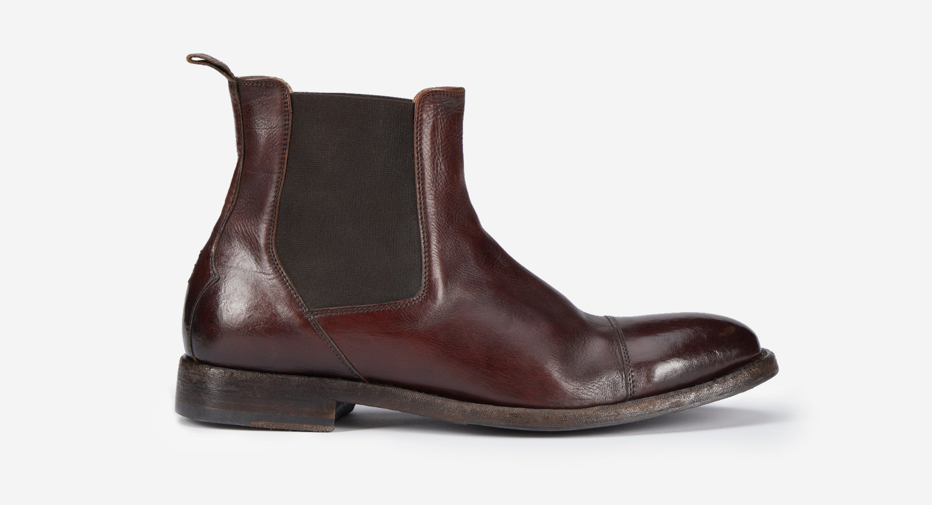 Antiqued Leather Chelsea Boot