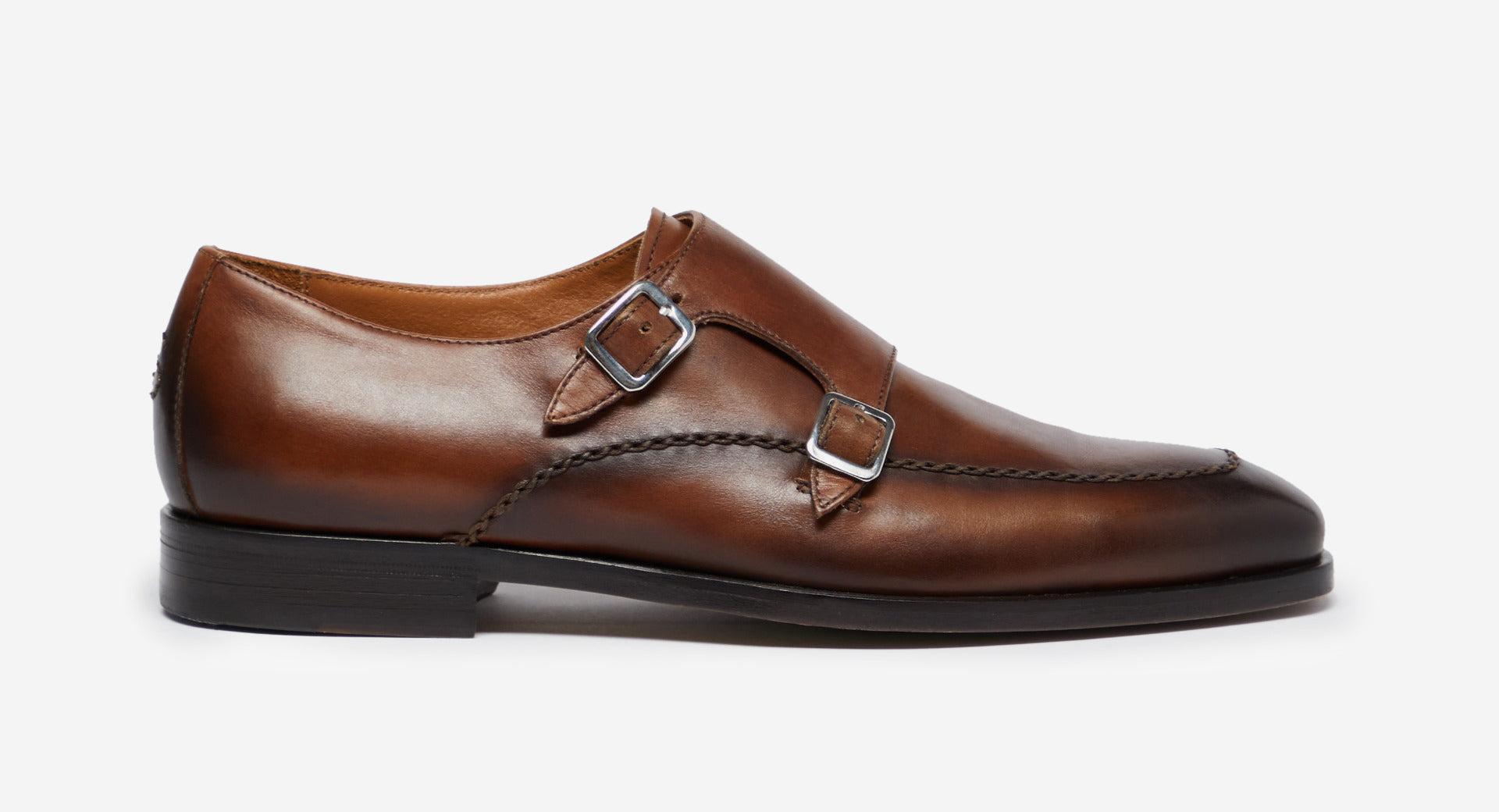 Antiqued Leather Double Monk Shoes