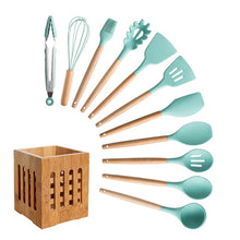 Load image into Gallery viewer, Silicone Cooking Utensils Set Non-Stick Spatula Shovel Wooden Handle Cooking Tools Set With Storage Box Kitchen Tool Accessories